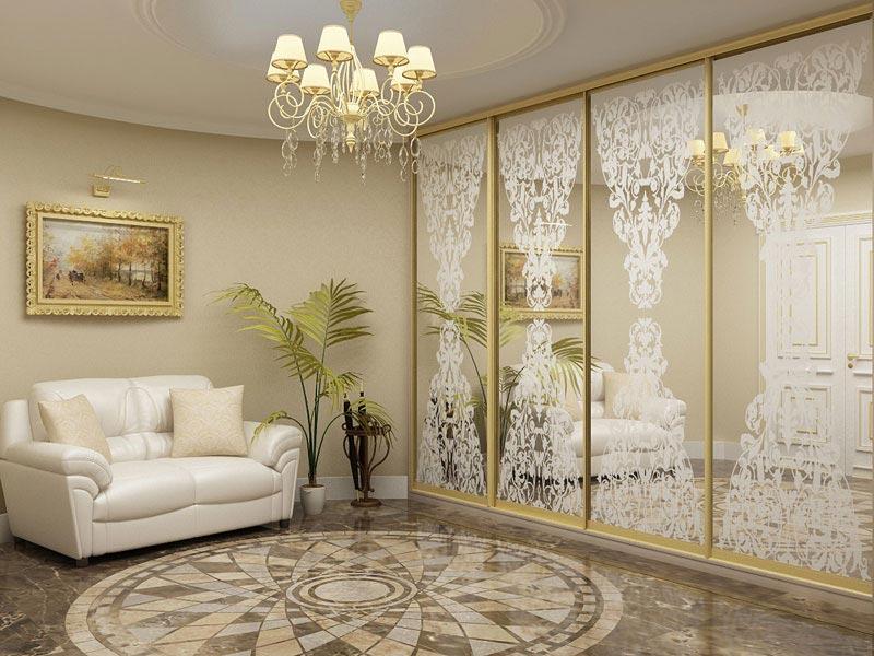 Пескоструй в интерьере гостиной — компания «Мир стекла и зеркал» Чебоксары